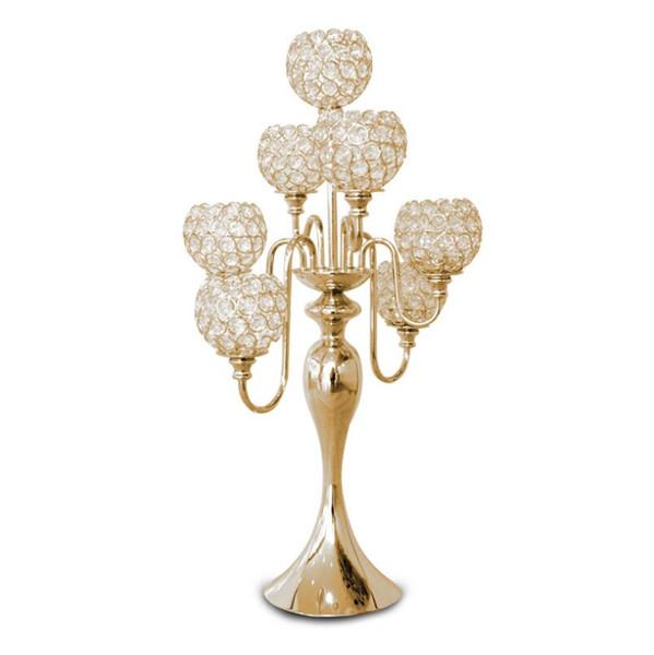 H69cm * W35cm, 7 Bolas de cristal Candelabro Castiçal de casamento decoração de mesa de casamento Centerpiece Vela titular ouro candelabro