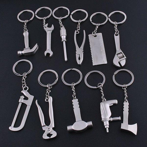 Ashion Jewelry Key Tafree Moda Herramientas llave llave llave llave, martillo, sierra, hacha, llave, electrodril, colgantes de aleación de tijeras con cadenas Llavero útil ...