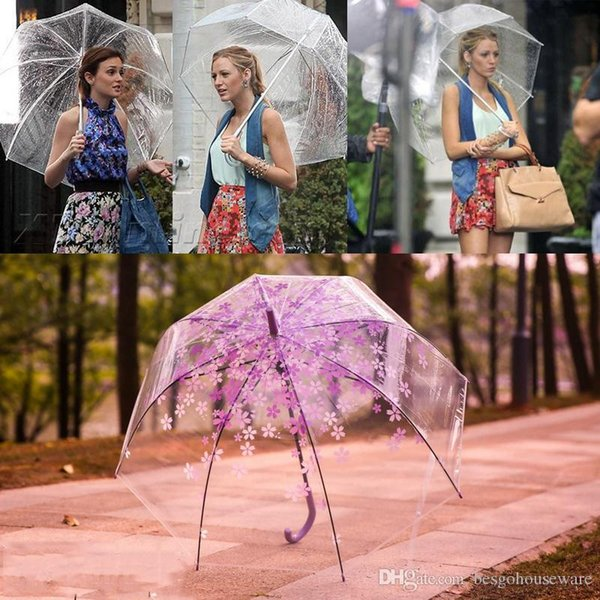 Transparente mango largo Paraguas danza Prop semiautomática Paraguas Verano Moda profundas Dome muchachas del paraguas de la seta Paraguas BH1689 TQQ