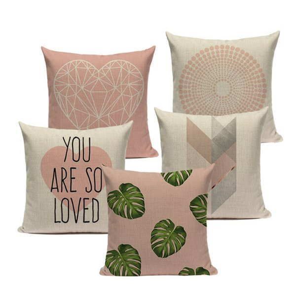Pink Geometric Nordic Cushion Cover Tropic Palm Leaf Throw Pillow Cover Linen Cushion Case Sofa Bed Decorative Heart Pillowcase Pillow Case