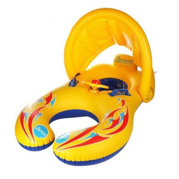 Mother & Baby Swimming Rings with Sun Shade Canopy Swimming Circle Baby Safety Boat Float Seat Pool Toy