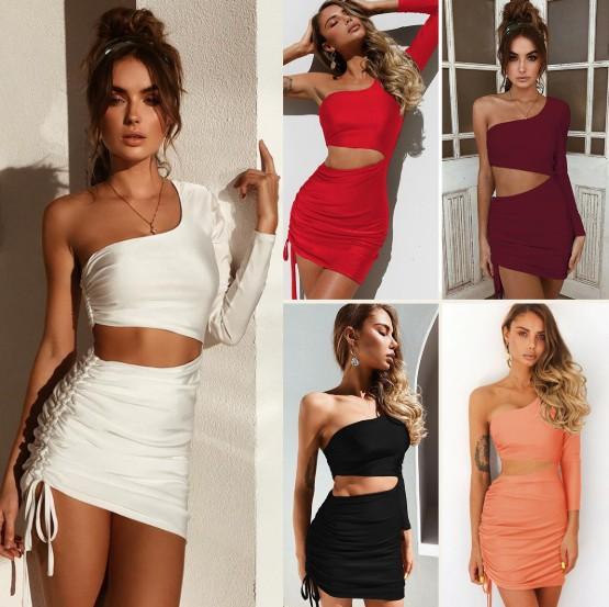 Frauen Sexy Kleid Sommer Sexy One Shoulder Hohlriemen Langarm Hüftkleid mit 6 Farben