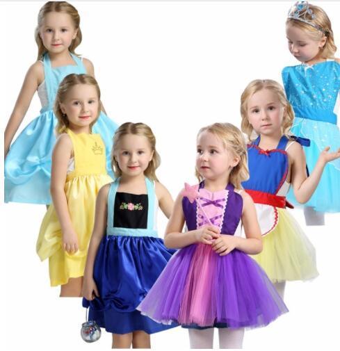 Ragazze principessa grembiule vestito in costume festa vestire cosplay vestito di natale per bambine Tutu grembiule costume di halloween KKA6858