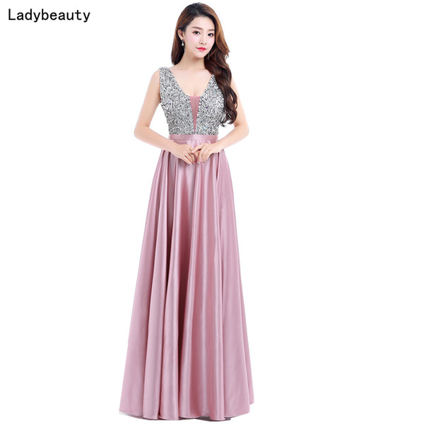 Ladybeauty New V-neck Beads Bodice Open Back A Line Long Evening Dress Party Elegant Vestido De Festa Fast Shipping Prom Gown Q190516