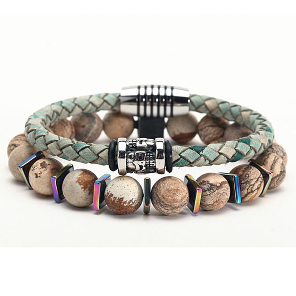 Handmade Making leather stone beads stainless steel friendship mens bracelets For Fashion Jewelry XULIN FJ DB -9