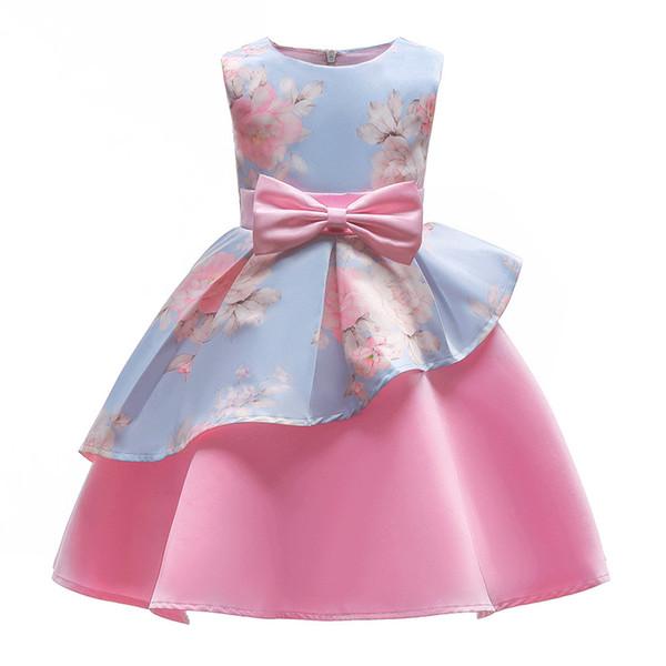 2019 nova primavera verão rosa meninas flor vestido de impressão criança full dress crianças arco crianças vestidos de festa para 3-9 anos de idade