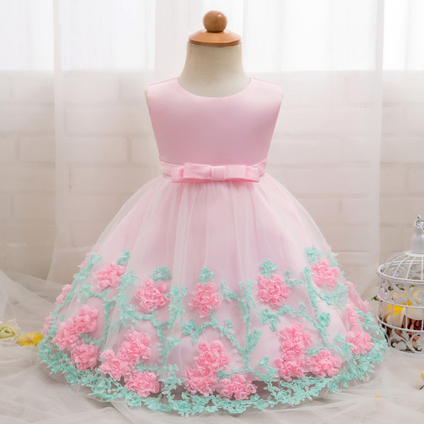 Baby Girl Party Frock Dress Baptism Dresses For Girls 1st Year Birthday Party Flower Wedding Christening Infant Clothing 12 24m J190506