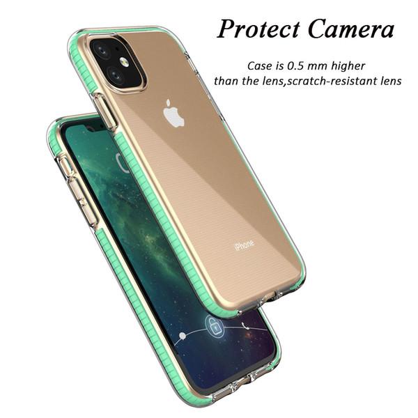 Двухцветный ясности TPU случая сотового телефона двойной цвет Гибридный Доспех противоударный чехол чехол для iPhone 11 Pro Max XR X XS Max 8 7 6 6s Plus Case