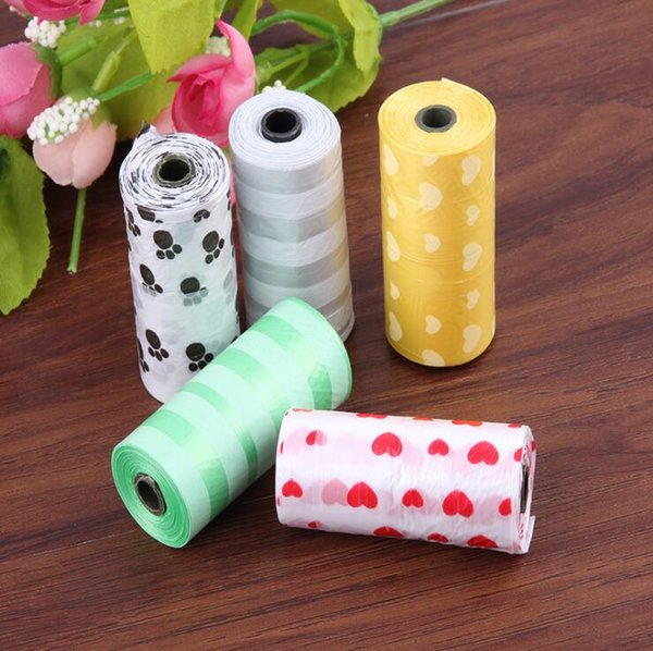 best selling Dog Waste Poop Bag Pet Poo paw Printing Clean-up outdoor portable dog sack cleaning rubbish disposable bags for pets LXL304