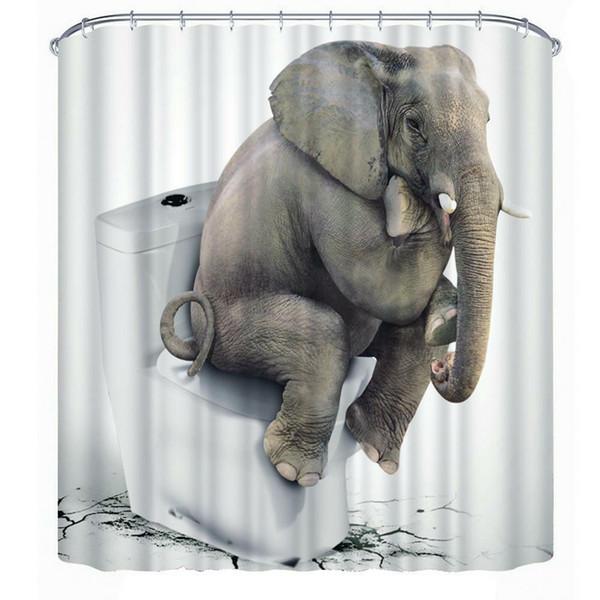 3d слон занавески для душа полиэстер винил лайнер крючки для ванной водонепроницаемый декор