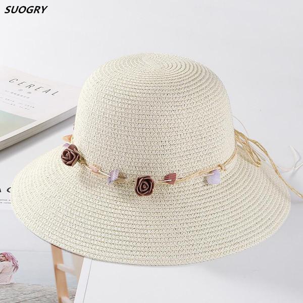 Estate fiore delle donne dei cappelli di paglia shell Garland floreale Cap larga del bordo di Sun Beach Hat Fedora Trilby Chapeu Feminino