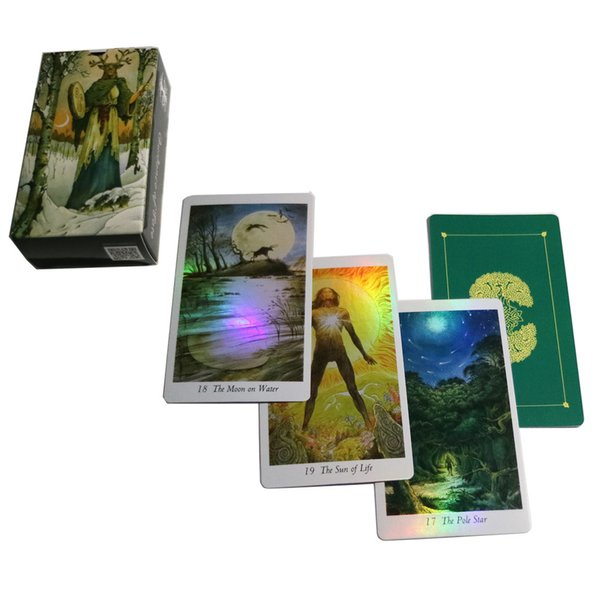 top popular NEW upgraded version Nature shine tarot cards deck Holographic mysterious animal playing cards game for family party board game Y200421 2021