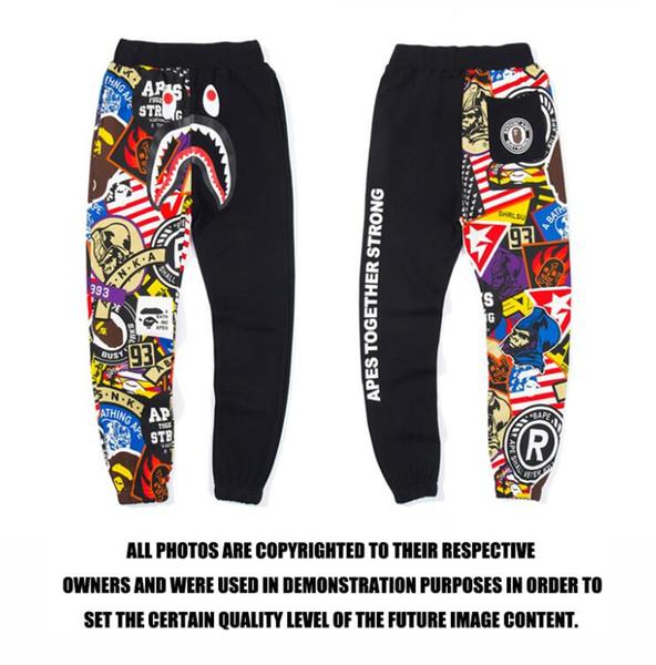 2019 стиль уличного цвета граффити шить случайные длинные мужские хип-хоп спортивные брюки уличная пара с брюками
