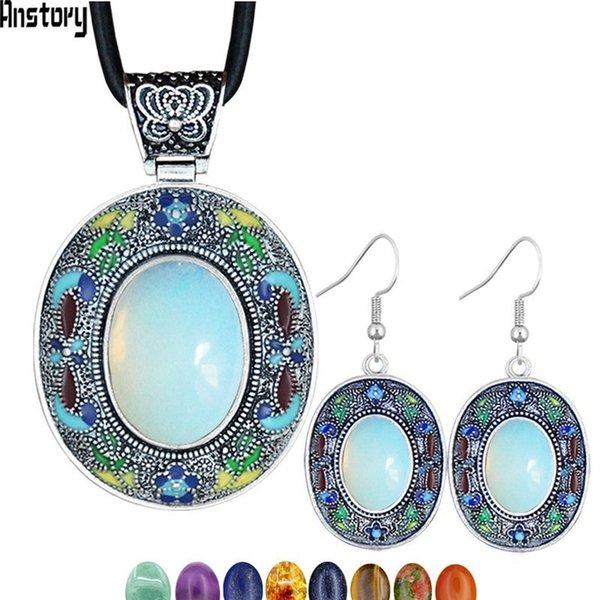 Vintage Oval Opal Takı Setleri Doğal Lapis Kaplan Eey Unakite Kuvars Kolye Küpe Bohemia Moda Takı NE + EA TS456