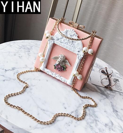 Bolso de mujer de marca independiente de fábrica bolso de ángel barroco bolso de cena de taladro de diamante personalizado bolso de hombro de perla personalizado
