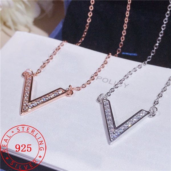 white rhodium and rose gold plating genuine 925 sterling silver fashion Letter V style pendant necklace