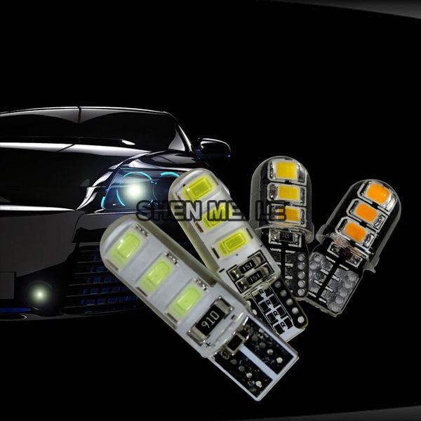 Car Styling T 10 COB LED Indicatori di conchiglia in silicone W5 W Lampadina 12v 2835SMD giallo rosso verde blu viola blu ghiaccio bianco caldo