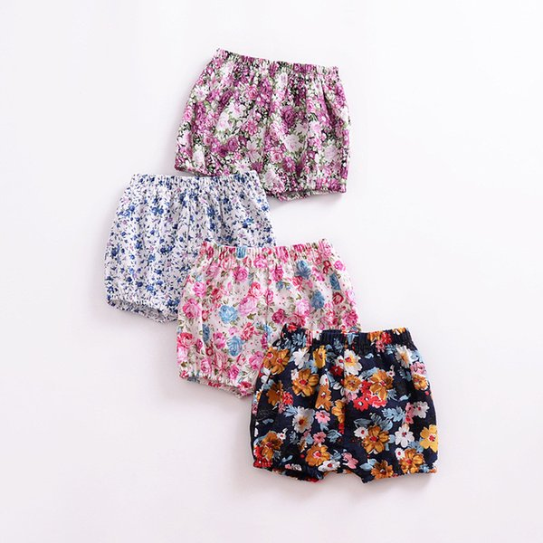 Baby Girls Shorts Toddler PP Pants Summer Cotton Infant Floral Printed Elastic Waist Short Trousers Children Kids Clothing Y75