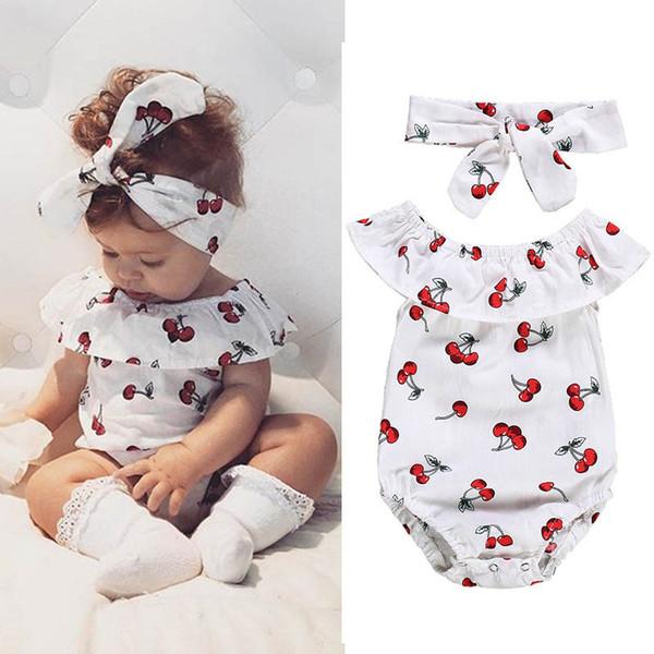 0ef2e9b27 Ins Summer cute baby romper Newborn Romper cotton Infant Jumpsuit+bows headband  newborn baby girl