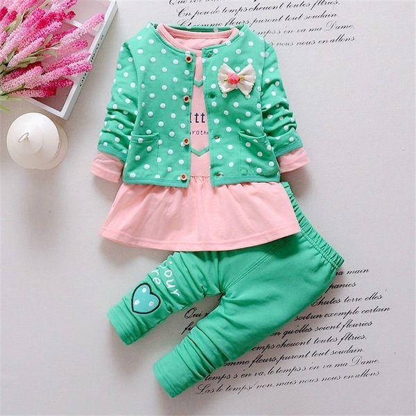 Kaliteli yenidoğan Bebek Kız giysileri Setleri 3 ADET ceket + T gömlek + Pantolon giyim seti Prenses Kalp şeklinde Yay bebek kız kıyafetler