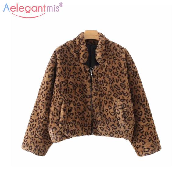 Aelegantmis Moda Leopar Faux Fur Kabarık Fermuar Kadın Coat Kürklü Bombacı Ceket Rahat Cep Gevşek Uzun Kollu Kısa Palto