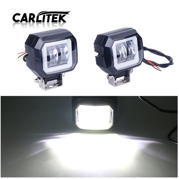 CARLitek Led Work Light Headlamp with White Angel Eyes Halo Ring Car Lights Spotlight Bar Led 3Inch 12V 24V 40W Waterproof 2pcs