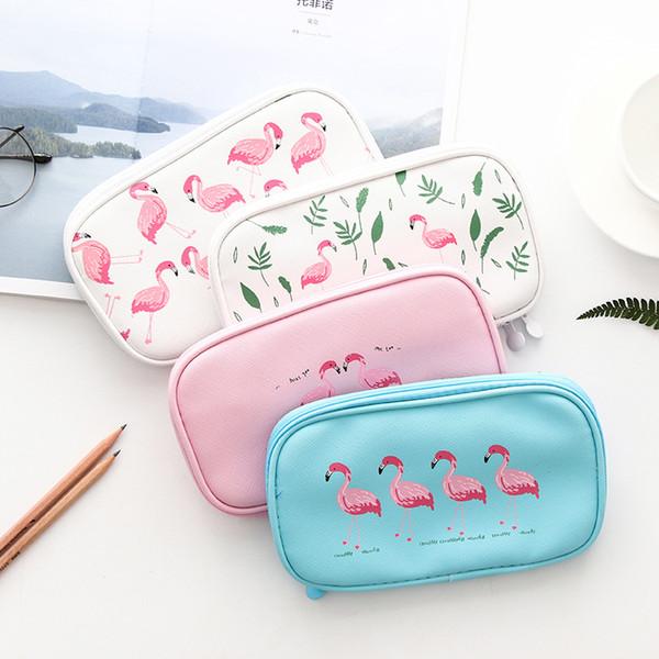 Creativo Flamingo Bolsas de Lápiz Kawaii Animal Estudiante Bolso Bolsas Para Niñas Niños Lápiz Con Cremallera Caso Caja Papelería Escolar Suministros
