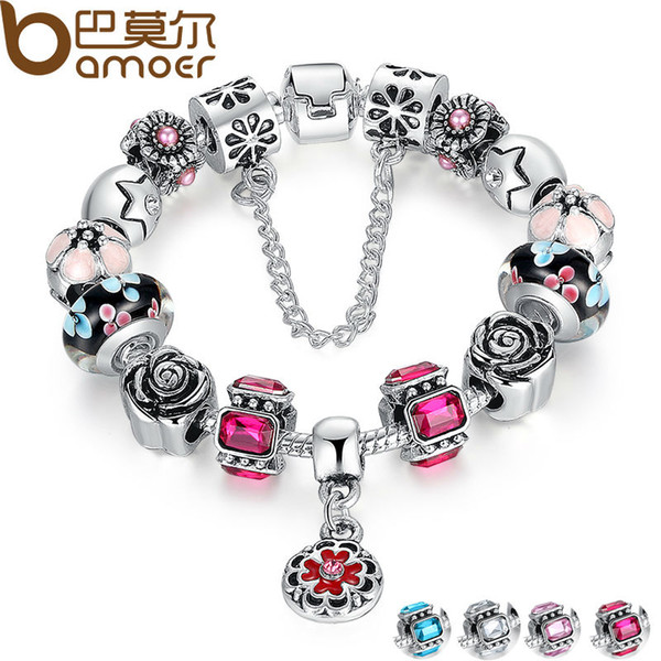 2019 Pandora Style Silver Original Glass Bead Bracelet for Women With Safety Chain Rhinestone Strand Pulseras Luxury PA1836 Free Shipping