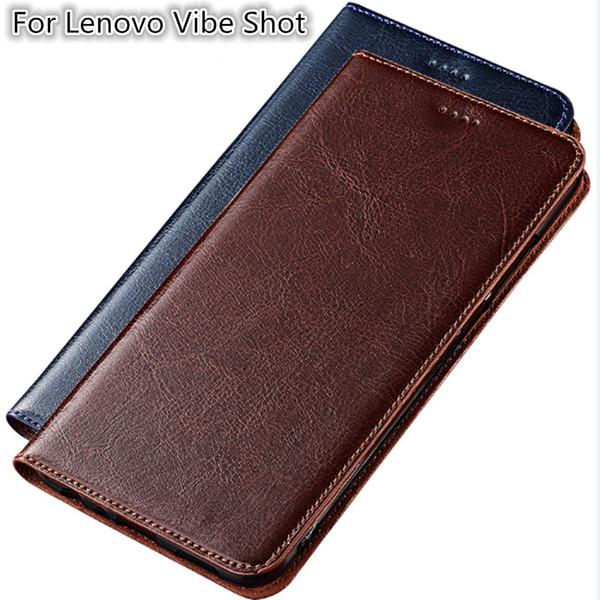 Cas de haute qualité de téléphone pour Lenovo Vibe Shot véritable sac de téléphone en cuir de vachette avec fente pour carte pour Lenovo Vibe Shot Z90 Flip Case Kickstand