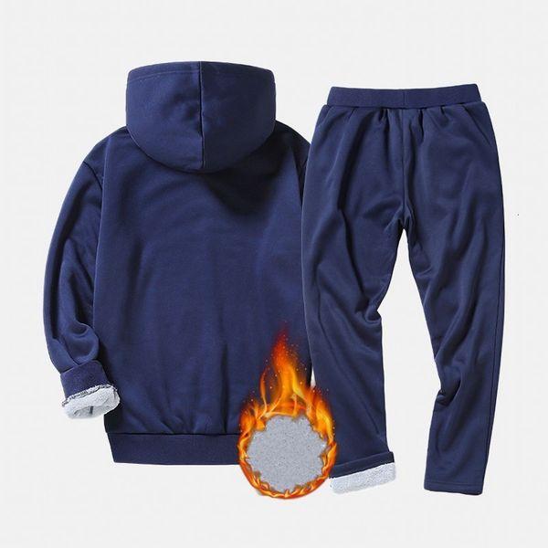 Winter-Marken-Mann-Sets Fleece Futter Warm Anzug Sport Hoodie Männer lange Hosen beiläufige Sets Elastic Large Size M-4XL Schwarz