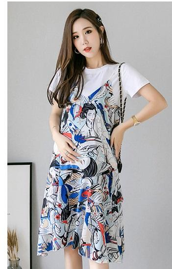 Pregnant women summer dress long paragraph over the knee summer skirt fashion print two-piece suit jacket pregnant women skirt t