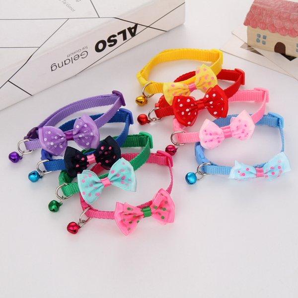Adjustable Pet Dog Collars with Bowknot Bells Charm Necklace Collar for Little Dogs Cats W9814