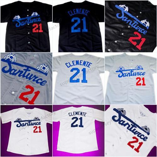 Moda Erkekler Santurce Crabbers Porto Riko Roberto Clemente Jersey 21 Ucuz Siyah Beyaz Gri Dikişli Beyzbol Gömlek Ücretsiz Kargo