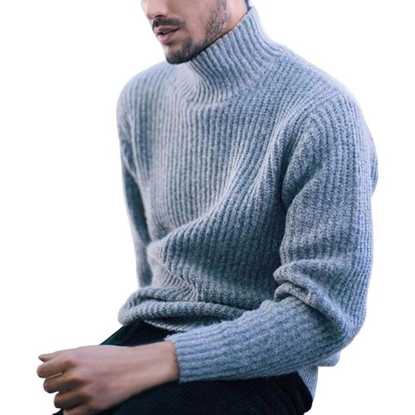 2020 fashion men solid color turtleneck long sleeve casual pullover knitted sweater - from $31.64