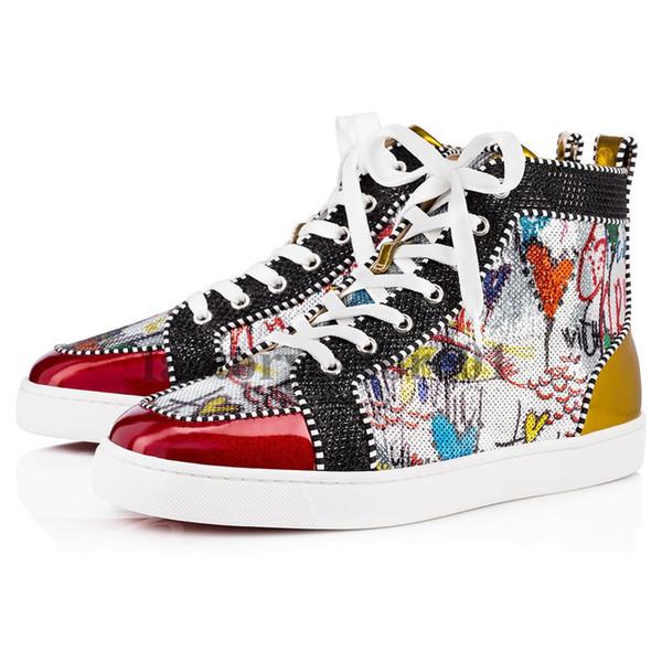 Kutu ile Womens Casual Ayakkabı Tercih Lüks Parti Ayakkabı Spike Kırmızı Alt Sneaker Düz Erkek Yüksek Üst Dantel-up Moda Düğün Hedi ...