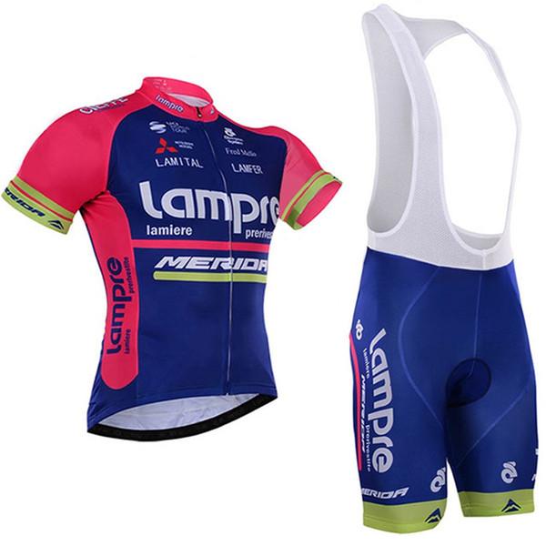 2018 Team Pro Lampre Merida Radtrikot-Set Ropa Ciclismo Skinsuit Fahrradtrikot + Tmb Radhosen Kurzhosen Radsport-Sets Kleidung Fabrik