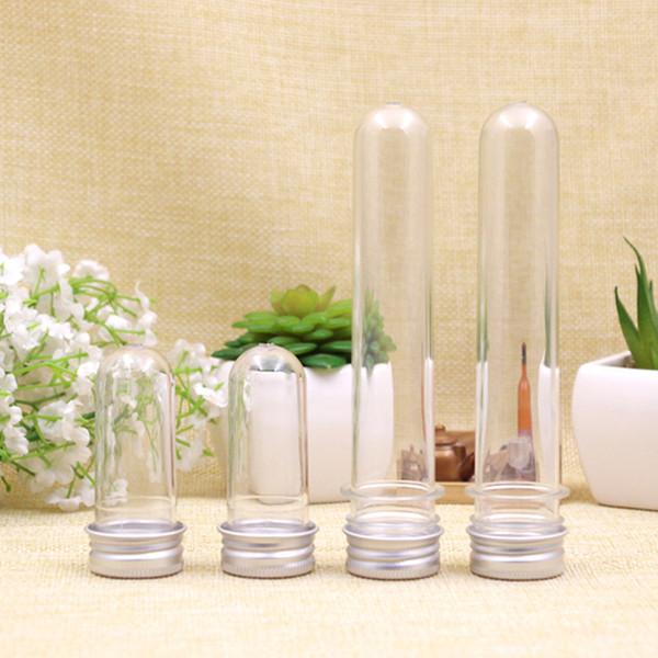 20ml / 40ml Vuoto chiaro pet tubo cosmetico maschera trasparente sale da bagno test tubo di plastica con tappo in alluminio all'ingrosso