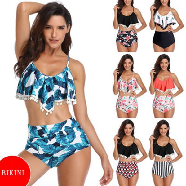 Mais novo Mulheres Sexy Swimwear Bikini Set Retro Flounce Cintura Alta Biquíni Halter Pescoço de Duas Peças Maiô ZZA962