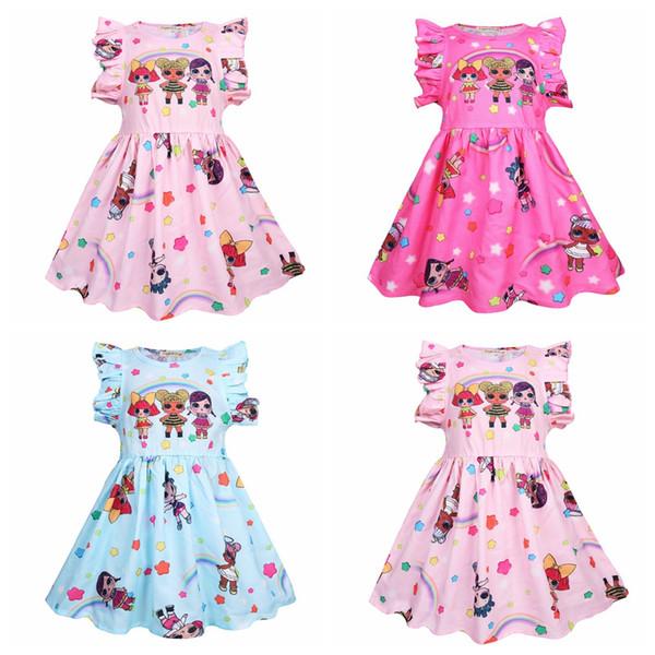Baby Girls Surprise Summer Dress Flouncy Sleeveless Ruffle Skirt Cosplay Princess TUTU Gonne Baby Floral Print Abiti da festa AAA2093