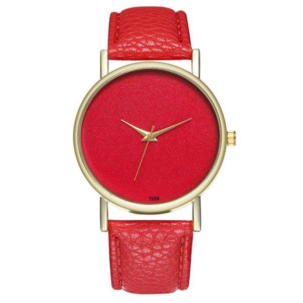 Classic Luxury Big Red Dial Femmes Wath Mouvement Quartz Marque Montre-bracelet Casual dame inoxydable Cristal Grain Sport Mode