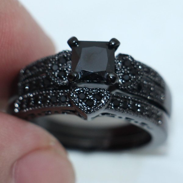 vendita all'ingrosso Moda tre-cuore nero diamante simulato CZ gioielli anello 10kt nero oro riempito Wedding Band Ring Set per le donne taglia 5-10 regalo
