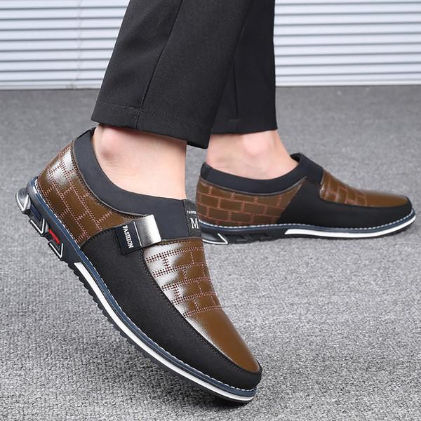 Formal shoes men Plus Size 48 Slip on Loafers Leather shoes men Breathable Rubber Non slip Mens dress shoes 2019