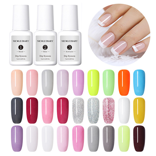 top popular NICOLE DAIRY Dipping Dip Powder 10ml Nail Powder Without Lamp Cure Natural Dry Dip System Liquid for Manicure Dipping 2020
