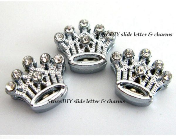 Free Shipping 50pcs-100pcs 8mm Clear Rhinestone Crown Slide Charms Fit Pet Dog Cat Tag Collar Wristband Belt