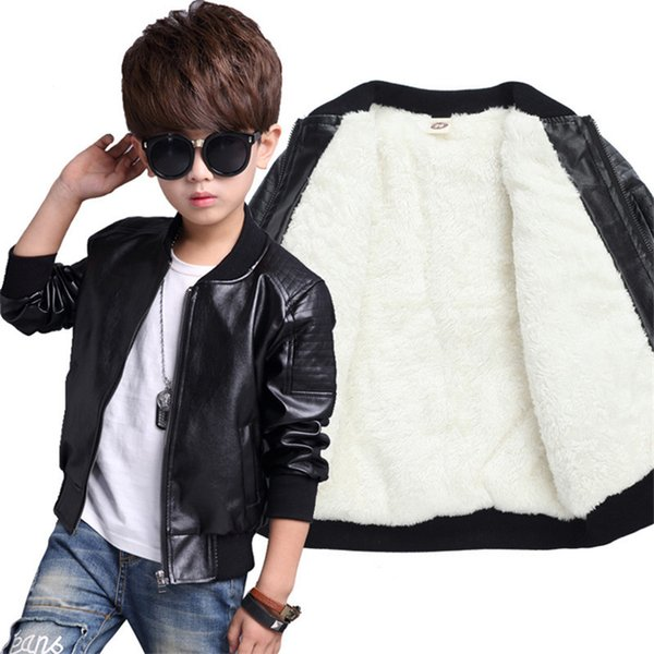 good qulaity new arrived boys coats autumn winter fashion children's plus velvet warming cotton pu leather jacket for kids