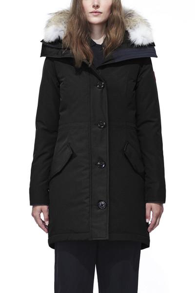 Winter-Frauen unten Parkas Hoody ROSSCLAIR Kanada Wolf Fur Damen Jacken Reißverschluss Designer schwarze Armee grüne Jacke warmer Mantel-Außen Parka E40