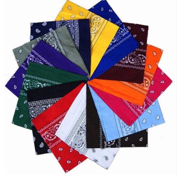 top popular 19 colors Hot Sale Cotton Unisex Hip Hop Head Scarves Men's Bandanas Womens Scarf Neck Wrap Headtie Band Square High Quality 2021