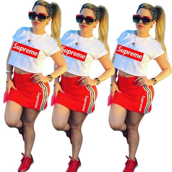 Frauen Designer Kleid Ernte Tee Minirock sexy Sommermode Damenmode über Knie Röcke Damen Top Anzug klw1615