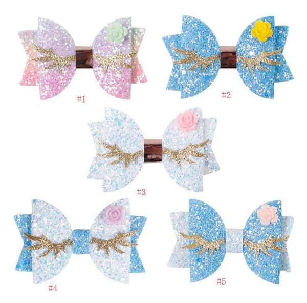 glitter leather hair bows lovely wings hair grips with cute golden eye and flower bowknot headwear cute babygirl hair bow