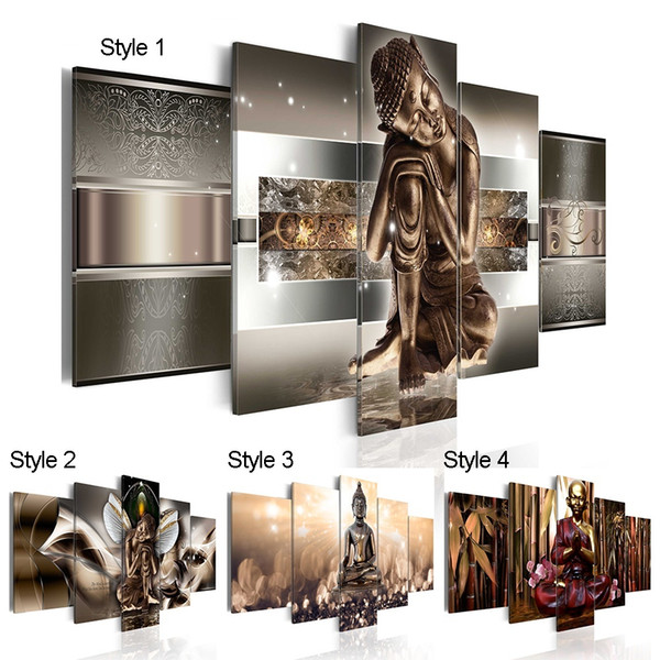 5pcs/set Unframed Modern Colorful Buddha Wall Decor Buddhism Art Oil Painting Print on Canvas Home Decor Canvas Painting Picture